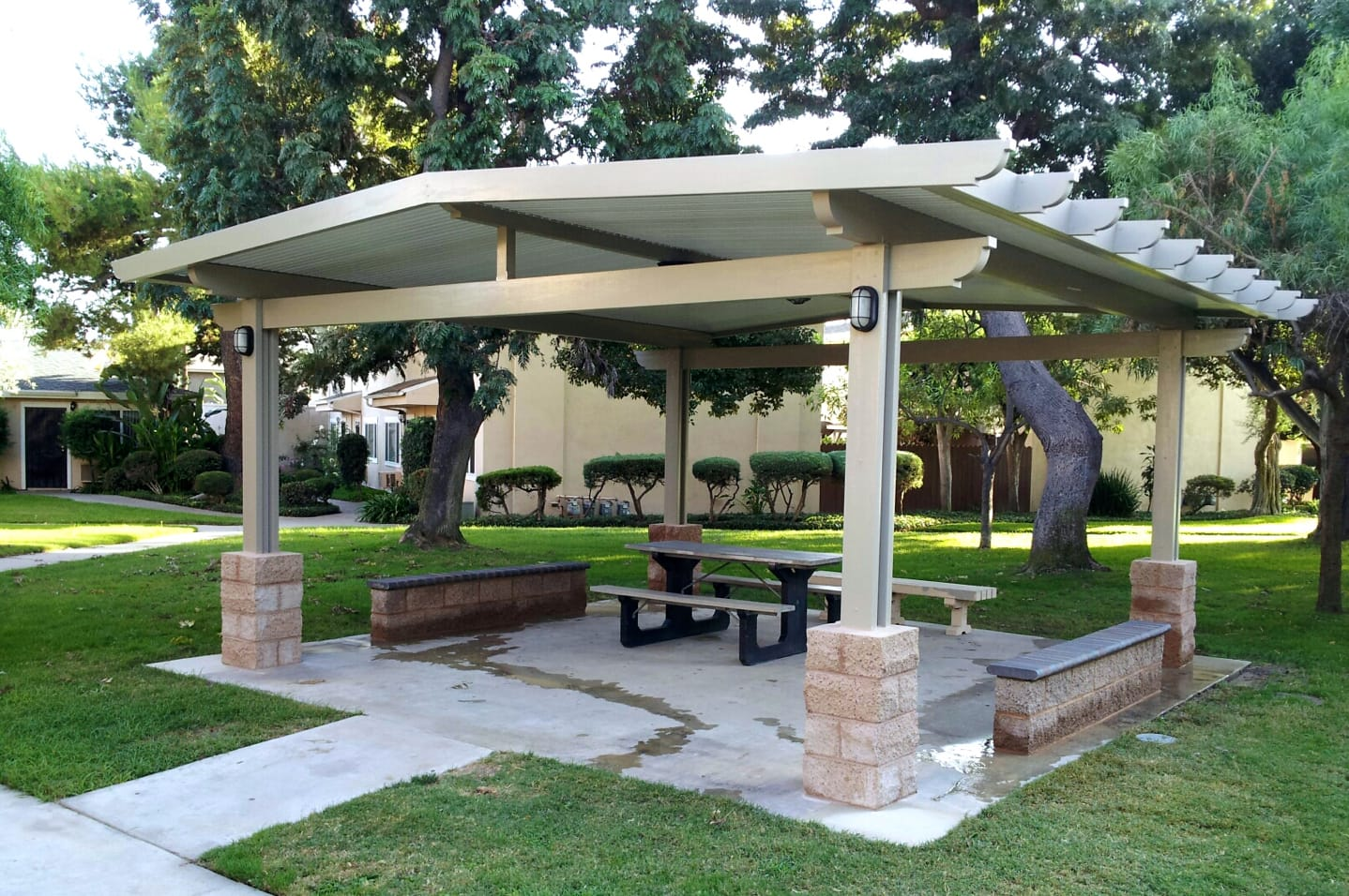 Alumashade DIY Solid Insulated Patio Cover in a Park