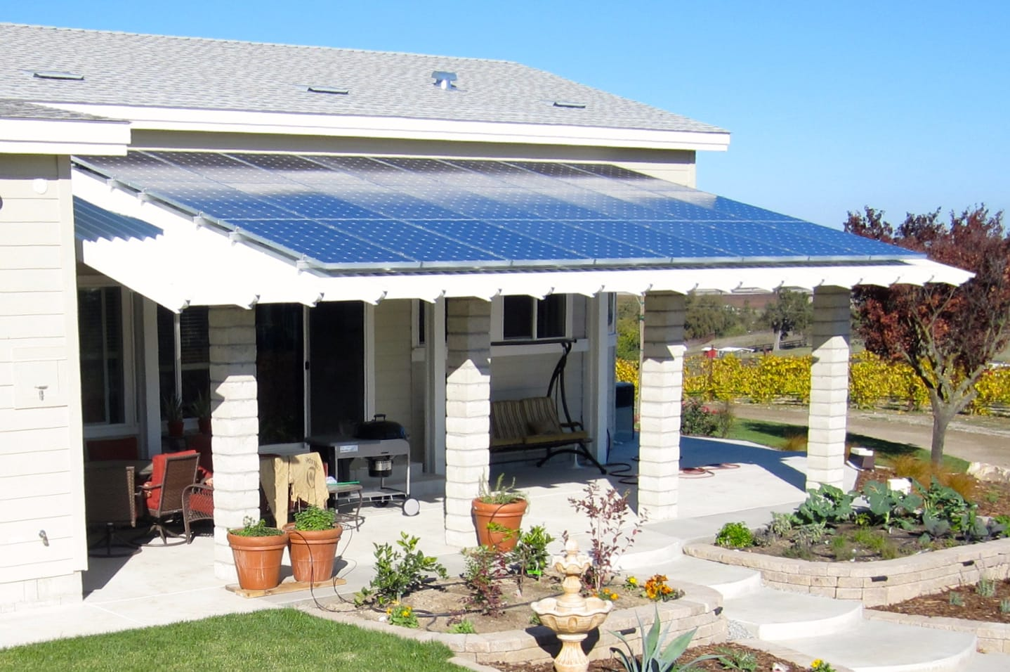 Alumashade DIY Solid Non-Insulated Patio Cover with Solar Panels